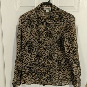 Long sleeve Tiger print blouse. Size Small Petite